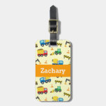 Colourful Construction Vehicles Pattern for Boys Tag For Bags