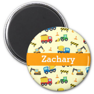Colourful Construction Vehicles Pattern for Boys 2 Inch Round Magnet