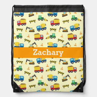 Colourful Construction Vehicles Pattern for Boys Cinch Bags