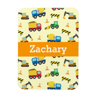 Colourful Construction Vehicles Pattern for Boys Magnets