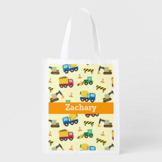 Colourful Construction Vehicles Pattern for Boys Reusable Grocery Bag