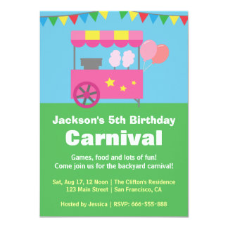 Colourful Cotton Candy Carnival Birthday Party Card