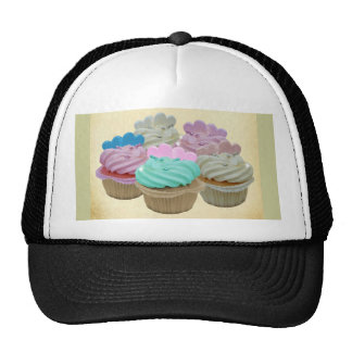 Colourful cupcakes and hearts trucker hat