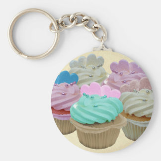 Colourful cupcakes and hearts keychain