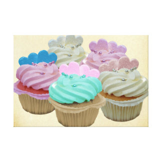 Colourful Cupcakes Wrapped Canvas Stretched Canvas Prints