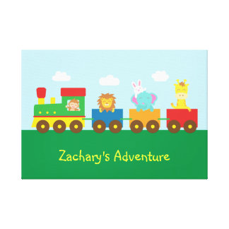Colourful Cute Animal Train, For Kids Bedroom Gallery Wrapped Canvas