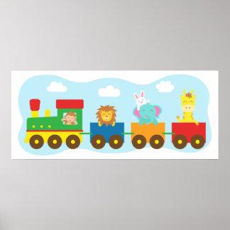 Colourful Cute Animal Train, For Kids room Print