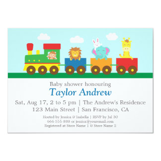 Colourful Cute Animals Train Baby Shower Party Announcement
