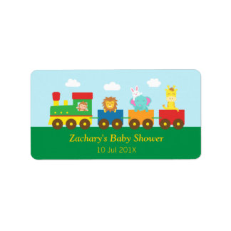 Colourful Cute Animals Train Baby Shower Party Labels