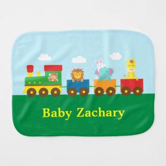 Colourful Cute Animals Train for Babies Baby Burp Cloth