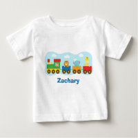 Colourful Cute Animals Train for Babies Baby T-Shirt