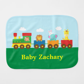 Colourful Cute Animals Train for Babies Burp Cloths