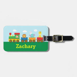 Colourful Cute Animals Train for Kids Bag Tag