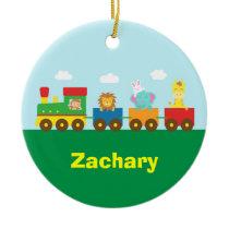 Colourful Cute Animals Train for Kids Ceramic Ornament