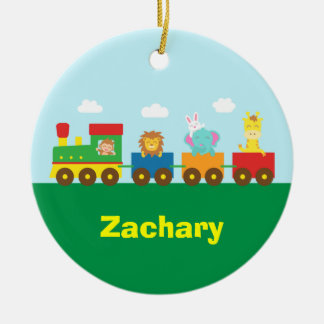 Colourful Cute Animals Train for Kids Double-Sided Ceramic Round Christmas Ornament