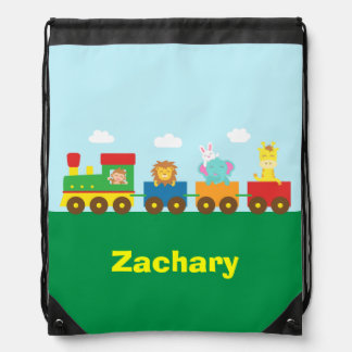 Colourful Cute Animals Train for Kids Drawstring Backpack