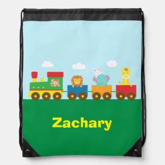 Colourful Cute Animals Train for Kids Drawstring Bags