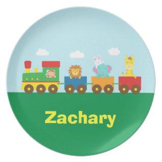 Colourful Cute Animals Train For Kids Melamine Plate at Zazzle
