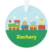 Colourful Cute Animals Train for Kids Ornament
