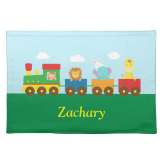 Colourful Cute Animals Train for Kids Placemats