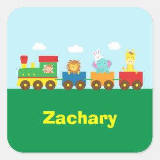 Colourful Cute Animals Train for Kids Square Sticker