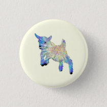 Colourful Cute Baby Goat Jumping Funny Animal Art Button