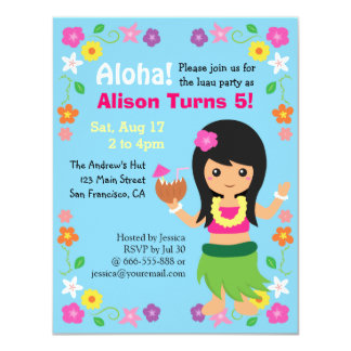 Colourful Cute Hawaii Hula Girl Luau Party Card