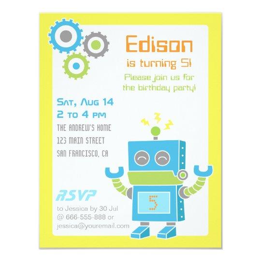 colourful cute robot birthday party invitations zazzle com