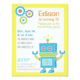 "Colourful Cute Robot Birthday Party Invitations 4.25"" X 5.5"" Invitation Card"