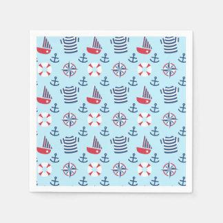 Colourful Cute Sailboat Anchor Nautical Party Paper Napkin