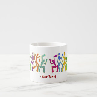 Colourful Dancers Motif 6 Oz Ceramic Espresso Cup