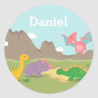 Colourful Dinosaurs Jurassic For kids Classic Round Sticker