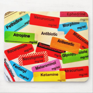 Colourful drug label mousepad