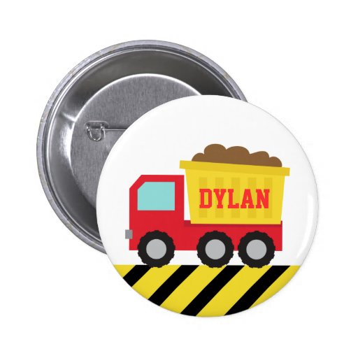 Colourful Dump Truck, Construction Vehicle for Boy Buttons