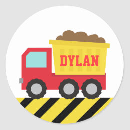 Colourful Dump Truck, Construction Vehicle for Boy Classic Round Sticker