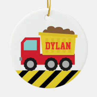 Colourful Dump Truck, Construction Vehicle for Boy Double-Sided Ceramic Round Christmas Ornament
