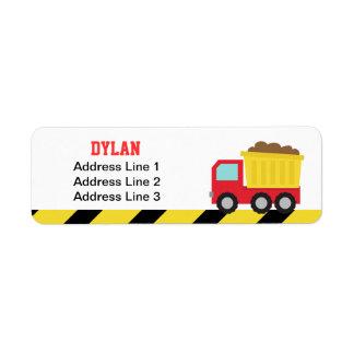 Colourful Dump Truck, Construction Vehicle for Boy Label