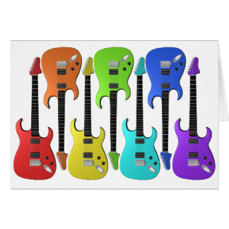 Colourful Electric Guitars Note Cards