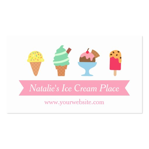 Colourful, Elegant, Ice Cream Parlour Business Business Card Template