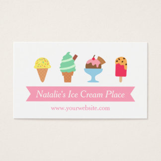 Colourful, Elegant, Ice Cream Parlour Business Business Card
