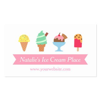 Colourful, Elegant, Ice Cream Parlour Business Double-Sided Standard Business Cards (Pack Of 100)