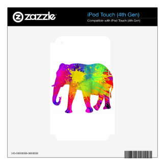 Colourful Elephant Design Skin For iPod Touch 4G