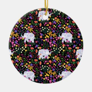 Colourful elephant floral Indian inspired design Ceramic Ornament