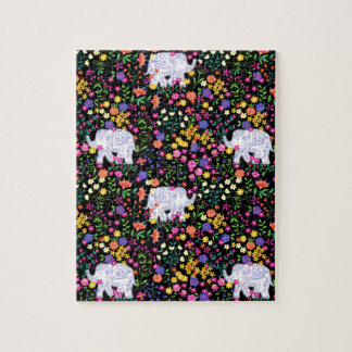 Colourful elephant floral Indian inspired design Jigsaw Puzzle