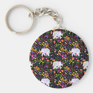 Colourful elephant floral Indian inspired design Keychain