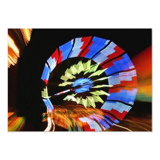 Colourful fair ride neon light photograph 5x7 paper invitation card