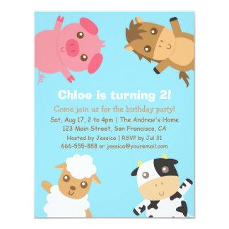 Colourful Farm Animals Birthday Party Invitation