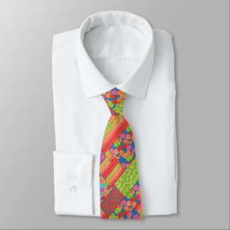 Colourful Faux Patchwork of Summer Fruits Patterns Neck Tie
