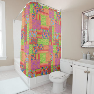 Colourful Faux Patchwork of Summer Fruits Patterns Shower Curtain