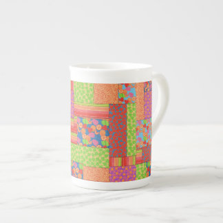 Colourful Faux Patchwork of Summer Fruits Patterns Tea Cup